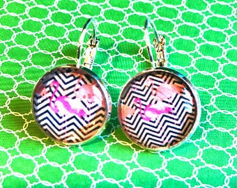 Handmade flamingos cabochon earrings- 16mm