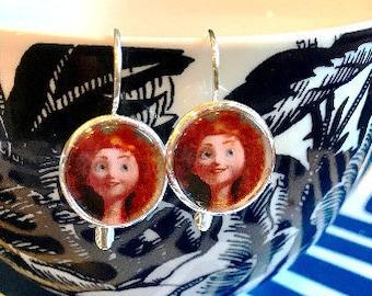 Handmade Merida Brave cabochon earrings- 16mm