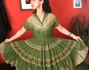 60's Olive Green and Khaki Patio Dress with Gold and Brown Ribbon Rickrack VLV Square Dance Huge Sweep!!!
