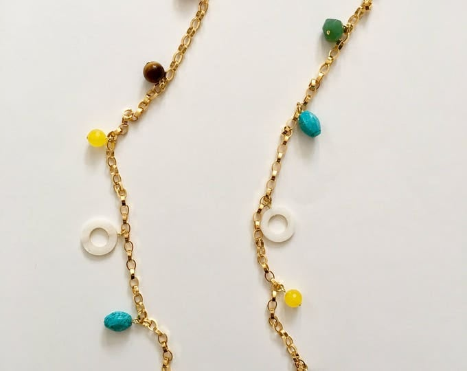 Golden necklace and semi precious stones : howlite turquoise, sea bambou, tiger eye, aventurine and jade gemstones