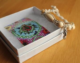 Seahorse Charm Hemp Macrame Bracelet - Natural Colored Hemp Bracelet with Seahorse - Comfortable & Casual Jewelry for Women - Beach Jewelry
