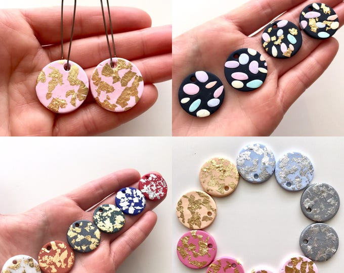 Confetti Disc Drop Earrings.  Handmade to order with your choice of Gold, Silver, Rose Gold Leaf or pastel confetti clay.