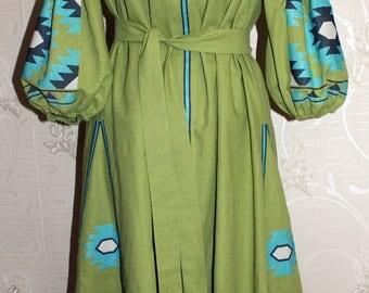Vyshyvanka ukrainian embroidered dress Linen Boho Style Etnic Folk Embroidery