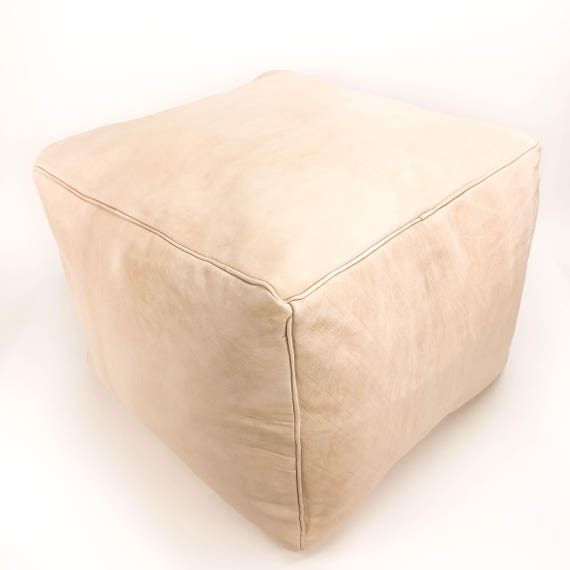 Square Leather Moroccan Pouf - Piping on Seams - Natural