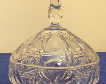 Vintage Crystal Clear Covered Pedestal Oval Candy Dish