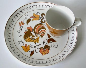 Set of Two, Jonas Roberts, Cera-Stone, Snack Plate and Cup Set, Vintage, Tableware