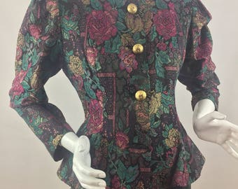 Vintage Special Times by Patty O'Neil Colorful Floral Print Peplum Jacket/Union Made Tags/Made in USA/Size 12
