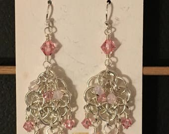Helm Chain Earrings with Swarovski Crystals