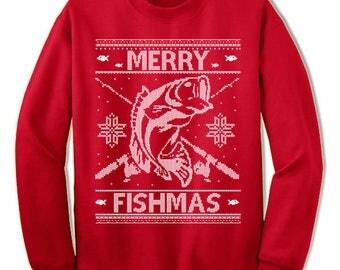 Fishing Ugly Christmas Sweater. Fisherman Gift.