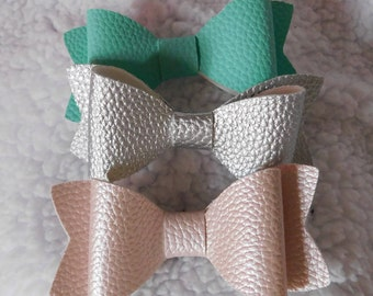 "4"" Leatherette Bows, Faux Leather"