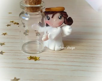 Angel Girl glass bottle baptism favors baby shower favors birthday glass communion cake topper polymer clay favors