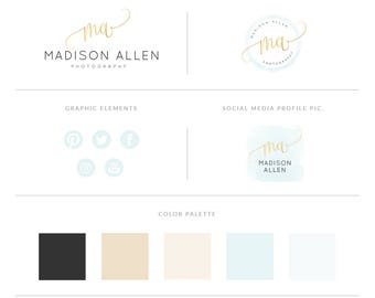 Mint Watercolor And Gold Logo Design Brand Kit,Photography Logo Watermark - Mint Watercolor Brand Package,Gold Logo Set,Premade Gold Logo