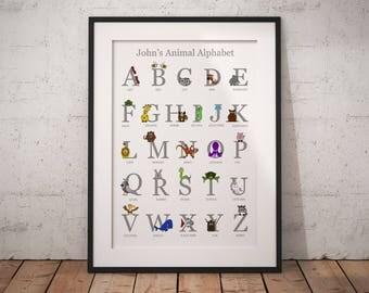 Nursery alphabet, alphabet nursery art, abc wall art, alphabet print, animal alphabet, alphabet letters, alphabet art, personalised print