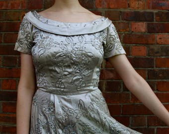 1950s Herbert Sondheim silver satin party dress