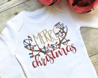 Unisex Baby Christmas Onesie, Deer Antler Onesie, Baby Christmas Clothes, Christmas Bodysuit, Infant Clothing, New Mom Gift