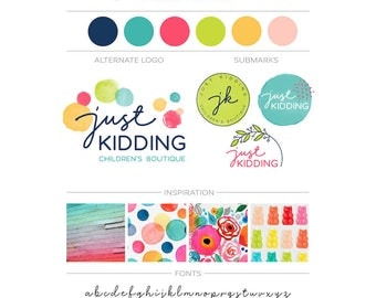 Watercolor Branding Package, Floral Confetti Logo Branding Kit, Childrens Glitter Logo Design, Kids Logo Event Planner Logo, Whimsical Logo