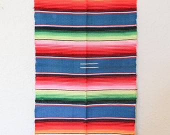 Serape Table Runner / Vintage Woven Mexican Fabric / Bright Woven Tablecloth / Serape Tablerunner / Serape Dresser Scarf / Bright Serape