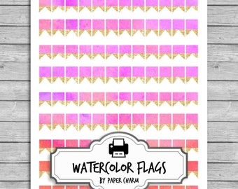 20% SALE Printable Flag Stickers | WATERCOLOR Reminder Stickers | Erin Condren Flags | Printable Flag Stickers | Watercolor Planner Flags