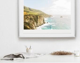 ocean large wall art, big sur print, big sur home decor, landscape wall decor, waves wall art, gift for her, california coastline art print