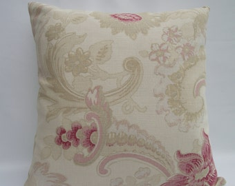 "Laura Ashley Handmade 16"" cushion cover in  Baroque Raspberry/Parchment Cotton/Linen Fabric Back Laura Ashley Austen Off White Cotton/Linen."