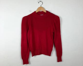 70s/80s Red Knit Sweater Size Small