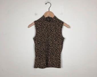 90s Leopard Print Top Size XS, 90s Mock Neck Top, Sleeveless Turtleneck, Cheetah Print Top