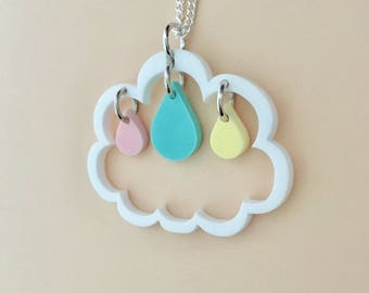 Raindrops Inside Cloud Acrylic Necklace In Pastel