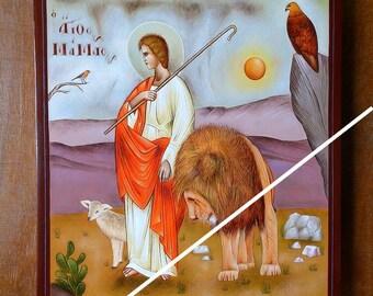 Saint Mamas (st Mammes) of Caesarea, holy orthodox byzantine icon, original hagiography, hand painted on request, Άγιος Μάμας, Святой Мамант