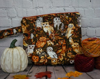 Autumn Owls Large Project bag, Knitting project bag, Crochet project bag,  Zipper Project Bag, Yarn bowl, Yarn tote