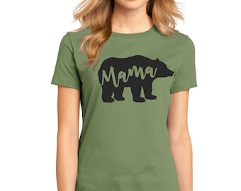 "Ladies Perfect Weight Crew Tee 100% Ring Spun Cotton ""Mama Bear"" a RealLifeOutfits original design"