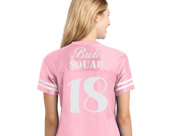 Bachelorette party Football Jersey Bride Squad and wedding year on back choose custom design on front - Sexy Football Jersey Bride tribe