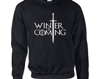 Winter is Coming Sweatshirt, Game of Thrones Hoodie, House Stark, Eddard Stark, Winter Is Coming Shirts Game Of Thrones Hooded Sweatshirt,