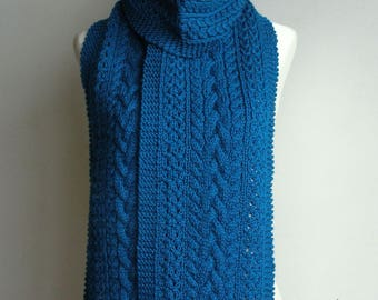 Cobalt Blue Pure Wool Hand Knitted Cable & Eyelet Scarf - 'Delphine'.