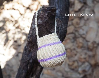 African Small Straw Basket Bag Purple Handmade Home Car Decor Miniature container