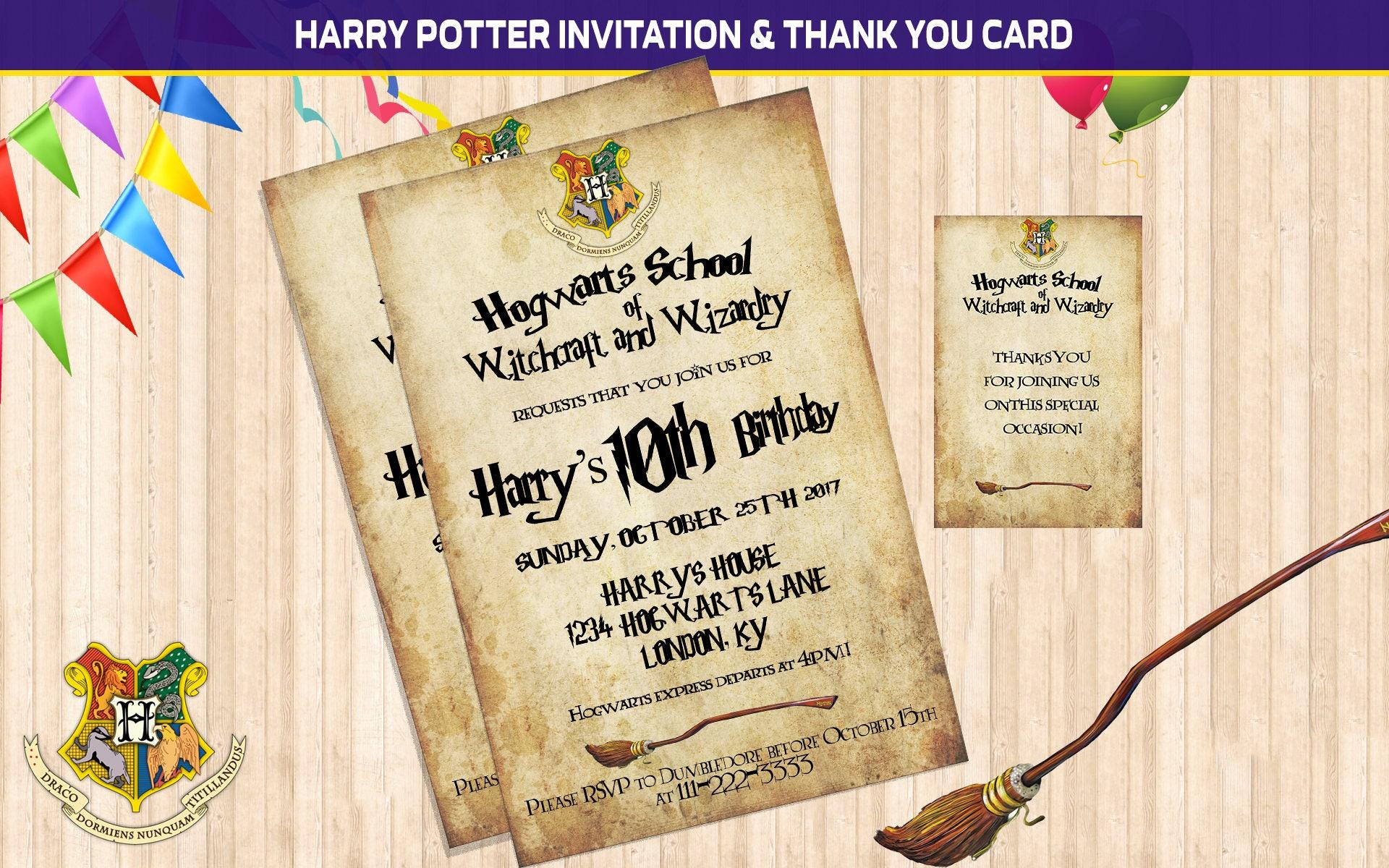 Harry Potter Invitation, Harry Potter Birthday, Harry Potter Party ...
