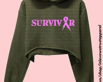 SURVIVOR Breast Cancer Awareness Cropped Hoodie