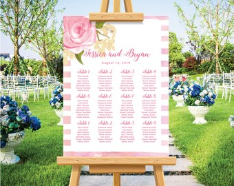 Bohemian blush watercolor floral wedding seating chart, personalized wedding poster, seating plan, modern wedding, rustic wedding sign