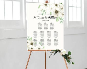 Wedding Seating Chart Sign, Seating Chart Template, Personalize Table Plan Sign, Floral Watercolor, Watercolor Anemone #A001