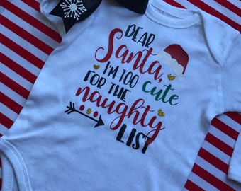 Baby Girl Santa Outfit with bow  - Christmas