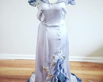 The Estelle- artdeco, 30s vintage style, handmade, blue silk nightgown
