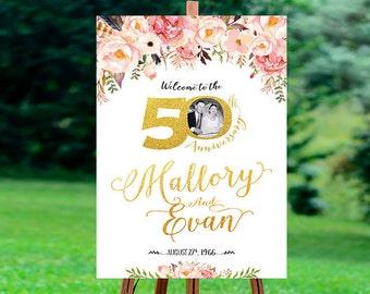 50th anniversary poster, 50th anniversary sign, Anniversary Sign Printable, 50th Anniversary decoration - US_WS0103c