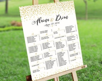 Seating Chart Poster, Wedding Seating Chart, Wedding Seating chart alphabetical, Gold Polka Dots Confetti Sprinkle - US_WC0201d