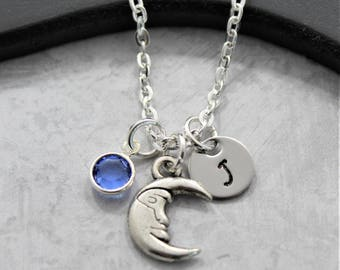 Crescent Moon Necklace - Personalized Moon Necklace - Silver Moon Necklace - Astronomy Necklace