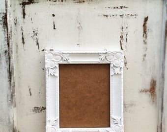 8x10 Picture Frame, Bright White, Wedding, Shabby Chic, Baroque, Vintage Style, French Country, Ornate, Photo, Home, Nursery, Wall Decor
