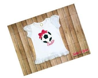 Girls Soccer Shirt, Soccer Ball Shirt, Girls Soccer Ball With Bow Shirt, Girls Soccer T Shirt, Girls soccer ball shirt, personalized soccer