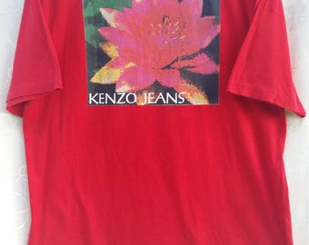 Vintage KENZO Tee// Red Kenzo//Nice Flower Background// Spellout// Free Size// Single Stitching item// Japanese Designer Brand