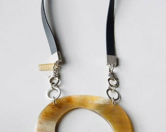 Bold statement necklace large horn pendant