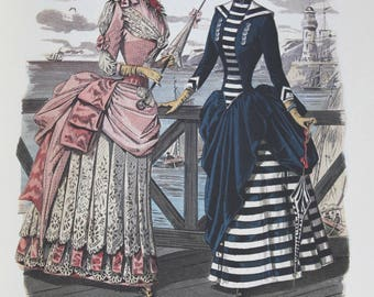 Victorian fashion plates late 1800s color reproduction