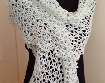 Elegant Pale Mint Green Crochet Wrap, Lacy Shawl