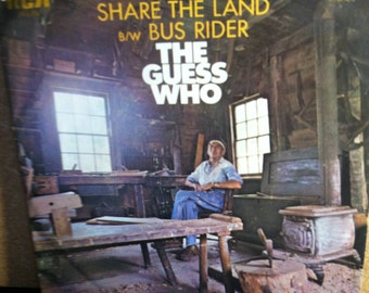 The Guess Who Share The Land b/w Bus Rider Vinyl Rock Picture Sleeve 45 rpm Record